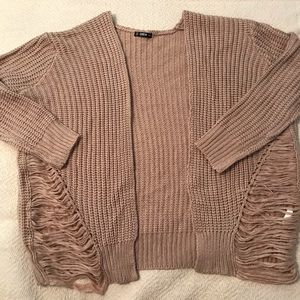 PLUS Tan Open Cardigan with distressed sides 3XL